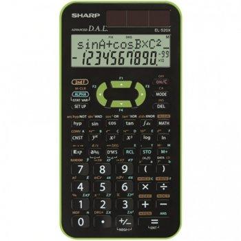 Калкулатор SHARP EL-520X-GR научен419F, 10 разряда двуредов дисплей, черно-зелен image