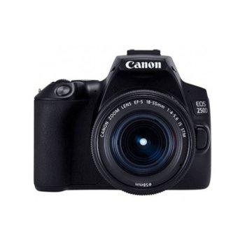 "Фотоапарат Canon EOS 250D в комплект с обектив Canon EF-S 18-55mm f/3.5-5.6 IS и подарък карта памет SDHC 32GB, 24.2 Mpix, 3,0"" (7.62 cm) сензорен TFT дисплей, Bluetooth, Wi-Fi, SD/SDHC/SDXC слот, USB, HDMI mini image"