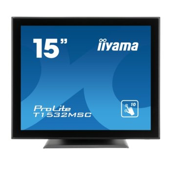 "Дисплей Iiyama T1532MSC-B5AG, тъч дисплей, 15"" (38.1 cm), XGA, HDMI, DisplayPort, VGA, USB image"