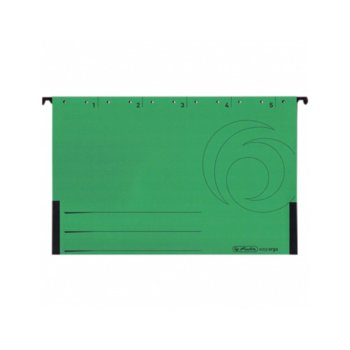 Папка картотека Herlitz Easyorga, V-образна, изработена от картон, с метални шини, зелена, 5бр. в опаковка image