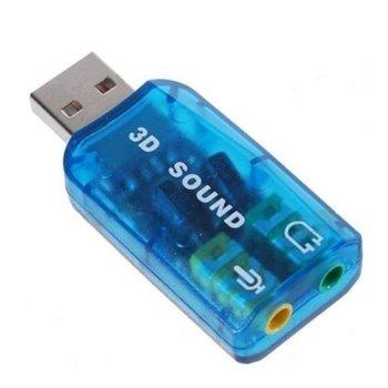 Външна звукова карта Digital One SP00120, USB 2.0, 1x Audio Out, 1x Mic, 5.1, синя image