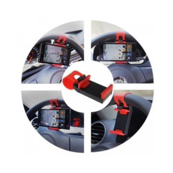 Универсална стойка за GPS/GSM, за волан, черно/червен image