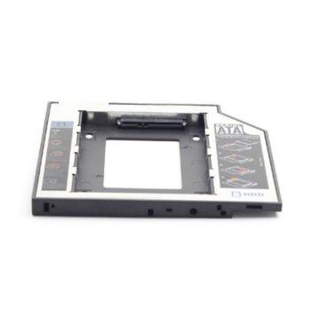 "Преходник (mounting bracket) Gembird MF-95-01, DVD (9.5 mm) към SATA, за втори 2.5"" HDD/SSD, черен image"