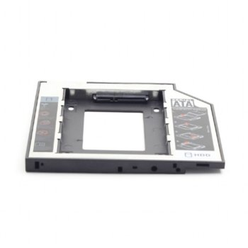"Преходник (mounting bracket) Gembird MF-95-01, DVD (9.5 mm) към SATA, за втори 2.5"" HDD/SSD, черен image"