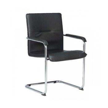 Посетителски стол Rumba Black, еко кожа, хромирана основа, черен image