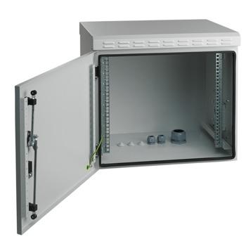 Комуникационен шкаф Mirsan MR.IP55W09U45.03, 9U, 600 x 450 x 500, товароносимост 100кг, бял, за стена, Outdoor image