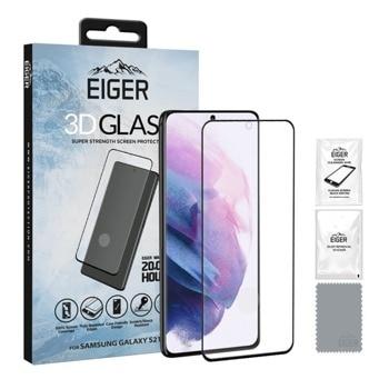 Протектор от закалено стъкло /Tempered Glass/ Eiger 3D (EGSP00698) за Samsung Galaxy S21+, извит, черен-прозрачен image
