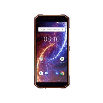 """Смартфон myPhone Hammer Energy 18x9 (черен/оранжев), поддържа 2 sim карти, 5.7"""" (14.47 cm) IPS capacitive touchscreen HD дисплей, четириядрен Cortex-A53 1.5GHz, 3GB RAM, 23GB Flash памет (+ microSD слот), 13.0 & 8.0 & MPix камера, Android 8.1, 254g image"""