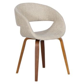 Трапезен стол Carmen 9975, до 120кг. макс. тегло, орех, дамаска/дърво, дървена база, бежов image
