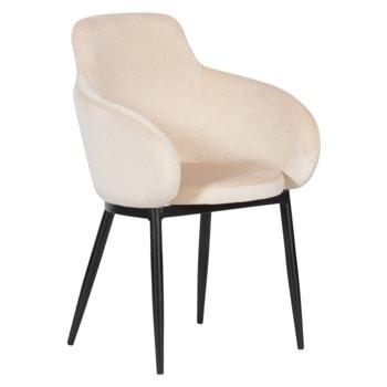 Трапезен стол Carmen TARA, до 100кг. макс. тегло, дамаска, метална база, крем image