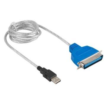 Преходник Lanberg AD-0028-W, от USB A(м) към Parallel (IEEE1284), Centronics 36-pin(м), 1.4м, сив image