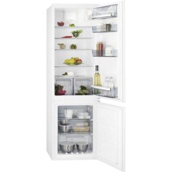 Хладилник с фризер AEG SCB618E6TS, клас E, 254 л. общ обем, за вграждане, 214 kWh/годишно, No Frost, функция Frostmatic, Fast freeze, бял image