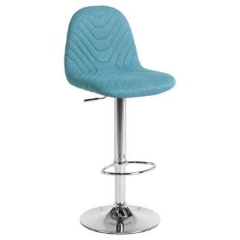 Бар стол Carmen 3085, дамаска, хромирана база, газов амортисьор, коригиране на височината, светло син image