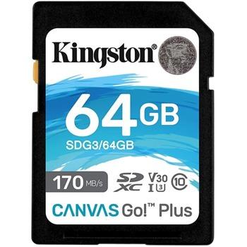 Карта памет 64GB SDXC, Kingston Canvas GO! +, Class 10, скорост на четене 170 MB/sec, скорост на запис 90 MB/sec image