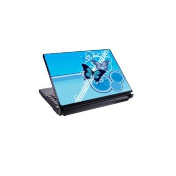 Декорация /скин/ Fullmark LS3003, за лаптопи до 26.7 x 39.37cm, син-Butterfly image