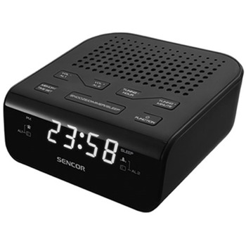 Радиочасовник Sencor SRC 136 B, цифров, FM тунер, 0.6'' LED дисплей, 20 предварителни настройки, черен image