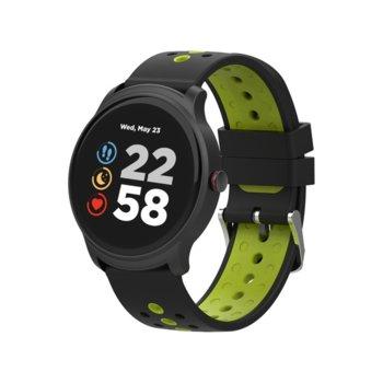 "Смарт часовник Canyon Oregano, 1.3"" (3.3 cm) сензорен дисплей, Bluetooth 4.2, IP68 водоустойчивост, iOS/Android, черен/зелен image"