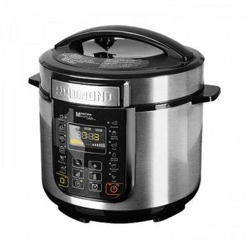 Мултифункционален уред за готвене Redmond RMC-PM381-E, 900 W, под налягане, капацитет 5л, 13 броя автоматични програми, LED дисплей, незалепващо покритие, аксесоари, черен image
