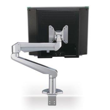 Стойка за монитор Roline 17.03.1147, за плот, VESA до 100x100, до 8кг, регулируема, Pivot функция, 2 шарнира, сребриста image