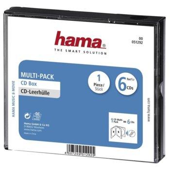 Кутия за CD/DVD HAMA Multi-Pack 6 51292, 6бр image