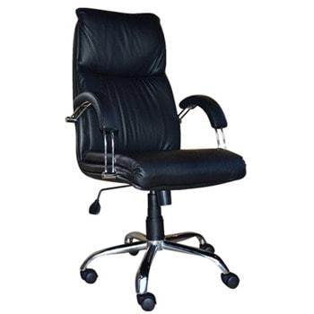 Директорски стол Nadir Steel, до 120кг, еко кожа, хромирана база, коригиране височина, люлеещ механизъм, заключване в позиция, черен image