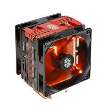 Охлаждане за процесор Cooler Master Hyper 212 LED Turbo, съвместимост с Intel 2066/2011/3/1366/1150/1151/1155/1156/775, AMD AM4/AM3+/AM3/AM2+/FM2/FM2+/FM1, червена LED подсветка, червен image