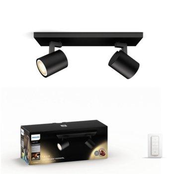Смарт лампа Philips Runner Hue 53092/30/P7, за таван, WiFi, общо 500 lm, 2200K - 6500K бяла атмосфера, включен ключ за димиране, черна image