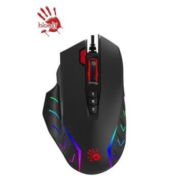 Мишка A4Tech Bloody J95, оптична (5000 CPI), USB, черна, 15 RGB Зони, ергономичен дизайн image