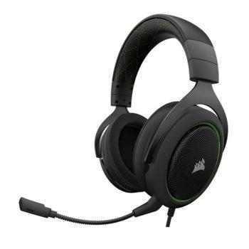 Слушалки Corsair HS50 Stereo Gaming Headset Green EU, микрофон, гейминг, 3.5mm жак, черни/зелени image