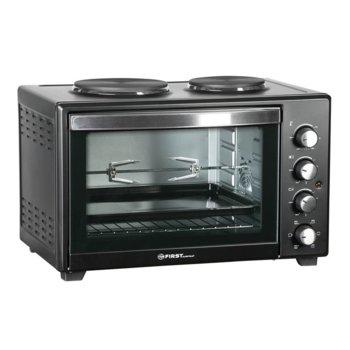 Готварска печка First Austria FA-5045-4, две нагревателни зони 600W + 1000W, 45 литра, 1600W мощност на грила, въртящ се шиш, конвекция, черна image