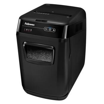 Шредер Fellowes AutoMax 150C, до 8 листа А4 ръчно/до 150 листа А4 автоматично, раздробява карти/CD / DVD дискове/хартия/телчета/кламери, защита против задръстване, SilentShred, Auto Reverse технология, кошче за отпадъци с обем 32 литра image