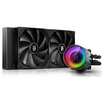 Водно охлаждане DeepCool CASTLE 280EX Addressable RGB, съвместимост със сокети LGA 2066/2011-3/2011-0/1151/1156/1155/1150/1366 & AMD TRX4/TR4/AM4/AM3+/AM3/AM2+/AM2/FM2+/FM2/FM1 image