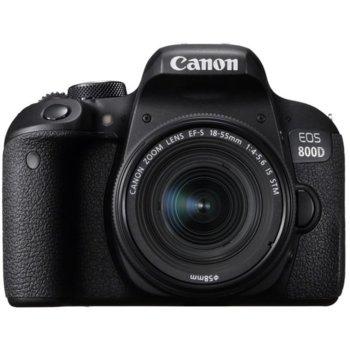 "Фотоапарат Canon EOS 800D(черен) в комплект с обективи Canon EF-S 18-55mm IS STM и Canon 75-300mm f/4-56. USM, 24.2 Mpix, 3.0"" (7.62 cm)TFT сензорен дисплей, Wi-Fi, HDMI mini, USB, SDXC/SDHC/SD слот image"