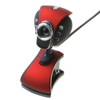 Уеб камера FY132, микрофон, 6 led светлини, автоматичен баланс на бялото, автоматична корекция на цветовете, USB, червена image