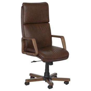 Директорски стол Carmen Texas LUX, естествена кожа, дървени подлакътници, дървена база, коригиране височина, газов амортисьор, ванилия image