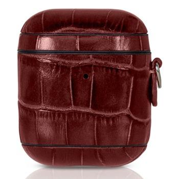 Защитен калъф Torrii Bamboo Leather Case за Apple Airpods / Apple Airpods 2, естествена кожа, червен image