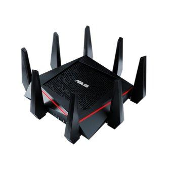 Рутер Asus RT-AC5300, 5300Mbps, 2.4GHz(1000 Mbps)/5GHz(2167 Mbps)/5GHz(2167 Mbps), Wireless AC, 4x LAN 1000, 1x WAN 1000, 1x USB 3.0, 1x USB 2.0, 8x външни антени, 512MB RAM, 128MB Flash памет image
