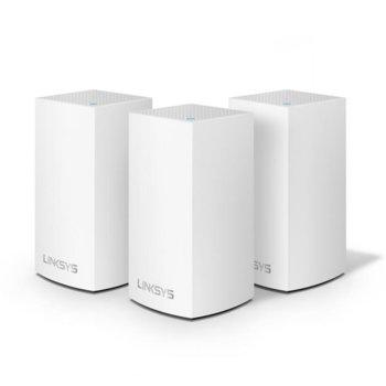 Wi-Fi система(3x бр.) Linksys Velop Intelligent Mesh VLP0103, 1200Mbps, 2.4GHz(300Mbps)/5GHz(867Mbps), Wireless AC, 1x LAN1000, 1x WAN1000, 3x вътрешни антени, 256MB Flash памет, 256MB RAM, Bluetooth 4.0 image