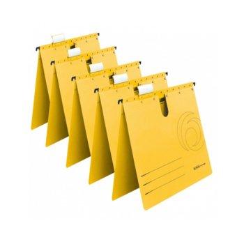Папка картотека Herlitz, Л-образна, изработена от картон, с метални шини, жълта, 5бр. в опаковка image