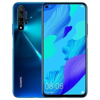 """Смартфон Huawei Nova 5T (Crush Blue), поддържа 2 sim карти, 6,26"""" (15.90cm) IPS LCD дисплей, осемядрен Kirin 980 2,6 GHz, 6GB RAM, 128GB Flash памет, (48/16/2/2 MPix) основна камера, (32 MPix) предна камера, 174g image"""