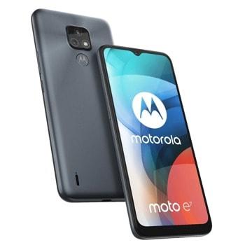 "Смартфон Motorola Moto e7 (сив), поддържа 2 sim карти, 6.5"" (16.51 cm IPS дисплей, осемядрен MediaTek Helio G25 2.0 GHz, 2GB RAM, 32GB Flash памет (+ microSD слот), 48.0 + 2.0 & 5.0 Mpix камера, Android, 180 g image"