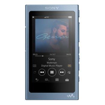 MP3 плейър Sony NW-A45, 16GB, Hi-Res Audio, 7.8cm дисплей, NFC/Bluetooth, син image