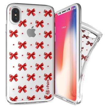 Калъф за Apple iPhone XS, термополиуретанов, iPaint Glamour Red Bow 840503, прозрачен image