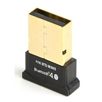 Адаптер Gembird BTD-MINI5, USB, Bluetooth 4.0, до 24 Mbps, обхват до 50 метра, черен image