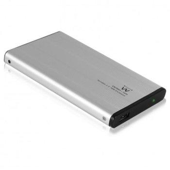 """Кутия 2.5""""(6.35cm) Ewent EW7041, за 2.5""""(6.35cm) HDD/SSD, USB 2.0, сива image"""
