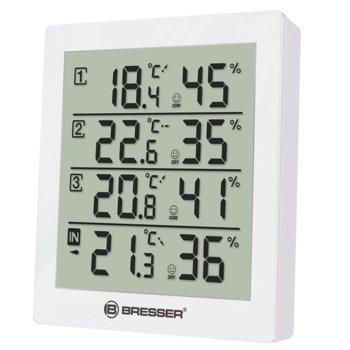 Електронна метеостанция Bresser Temeo Hygro Quadro, 4 резултатите от измерването за температурата, 4 резултати от измерването за относителна влажност, бяла image