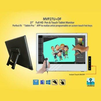 """Графичен таблет Yiynova MVP27U+DF (бял), 27"""" (68.58 cm) Full HD дисплей, 5080 lpi, 8192 нива на натиск, DVI, USB image"""