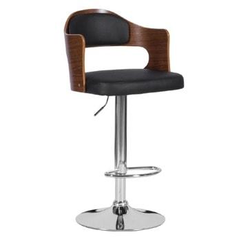 Бар стол Carmen 4045, до 100кг, еко кожа, хромирана база, газов амортисьор, коригиране на височина, черен image