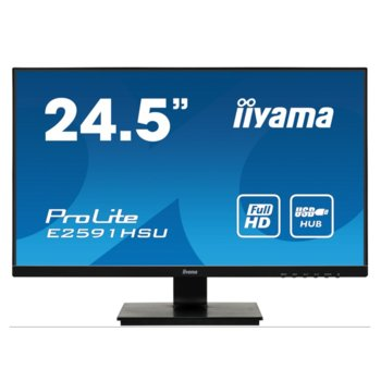 "​Монитор Iiyama ProLite E2591HSU-B1, 24.5"" (62.2 cm) TN панел, 1ms, 80000000:1, 250 cd/m2, HDMI, DisplayPort, VGA image"