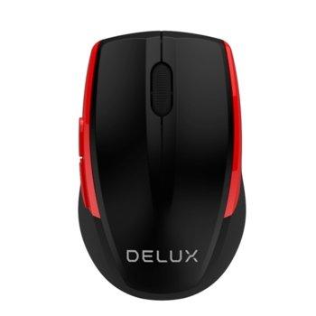 Мишка Delux M521GX, оптична(1600dpi), безжична, USB, черен/червен image